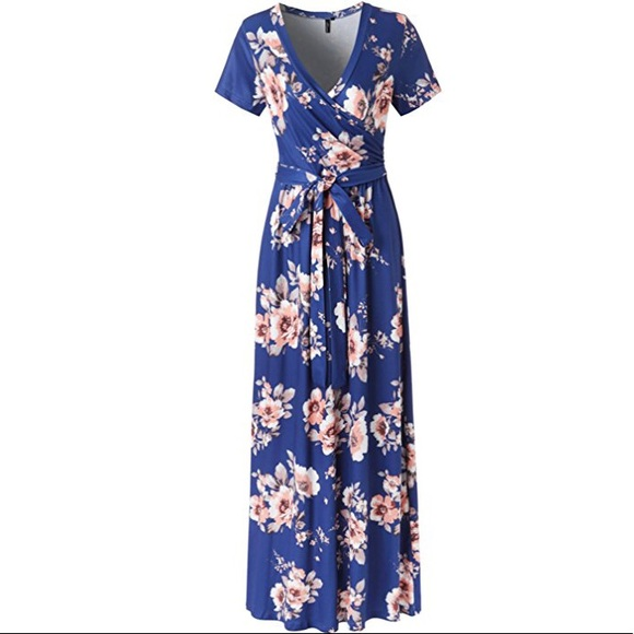 76bcd2941753 NWT Blue Floral Print Short Sleeve Long Maxi Dress
